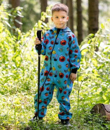 Waterproof Softshell Overall Comfy Funny Faces Blue Jumpsuit