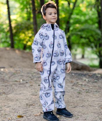 Waterproof Softshell Overall Comfy Joyful Dino Grey Jumpsuit