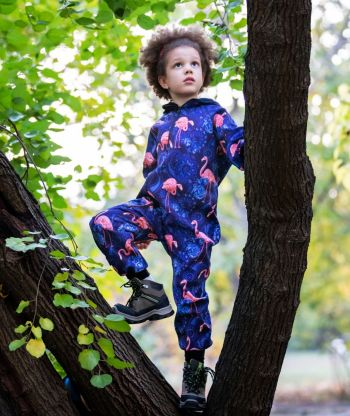 Waterproof Softshell Overall Comfy Flamingo Blue Jumpsuit