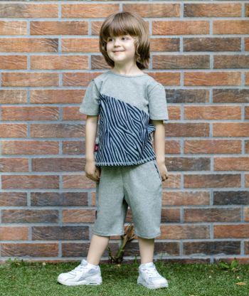 Short Pants Grey Pockets Abstract Stripes
