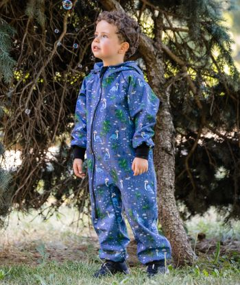 Waterproof Softshell Overall Comfy Joyful Dino Blue Jumpsuit
