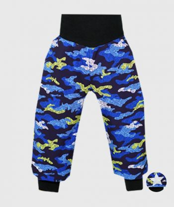 Waterproof Softshell Pants Camouflage Blue
