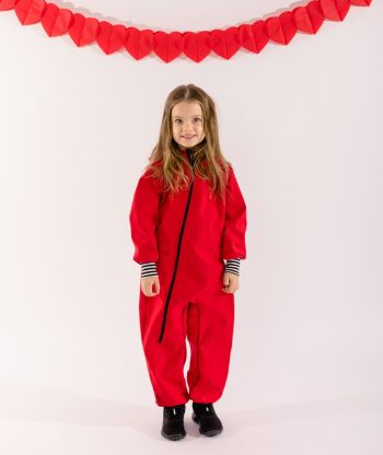 Waterproof Softshell Overall Comfy Red Striped Black/White Cuffs Jumpsui