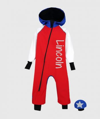 Waterproof Softshell Overall Comfy Red/White/Blue Jumpsuit