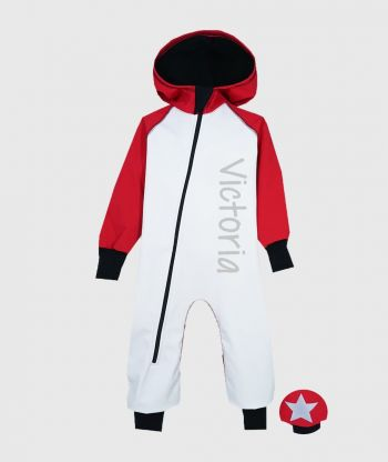 Waterproof Softshell Overall Comfy White/Red Jumpsuit