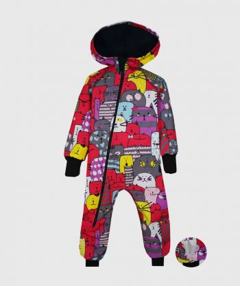 Waterproof Softshell Overall Comfy Colorful Cats Jumpsuit