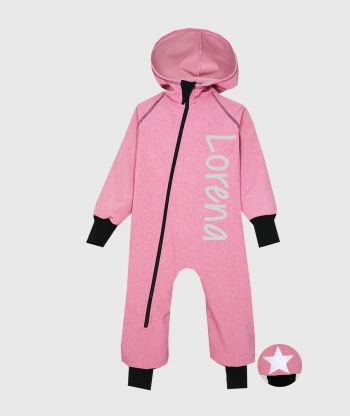 Waterproof Softshell Overall Comfy Dusty Pink Melange Jumpsuit
