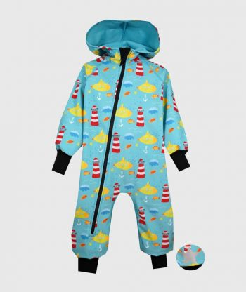 Waterproof Softshell Overall Comfy Submarine Drawings Jumpsuit