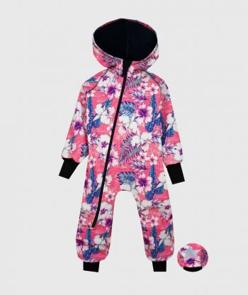 Waterproof Softshell Overall Comfy Exotic Flowers Jumpsuit