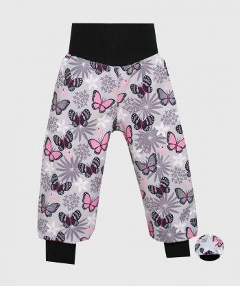 Waterproof Softshell Pants Flowers And Butterflies Grey