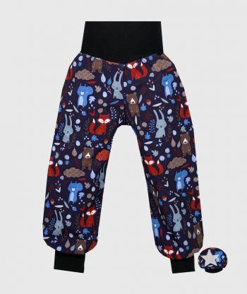 Waterproof Softshell Pants Forest Animals Dark Blue