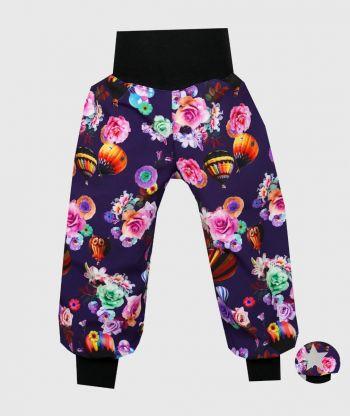 Waterproof Softshell Pants Roses And Airballoons Purple