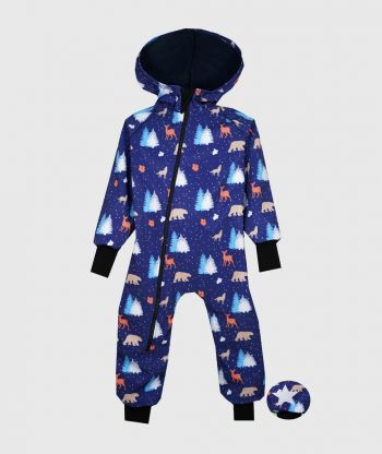 Waterproof Softshell Overall Comfy Polar Animals Jumpsuit