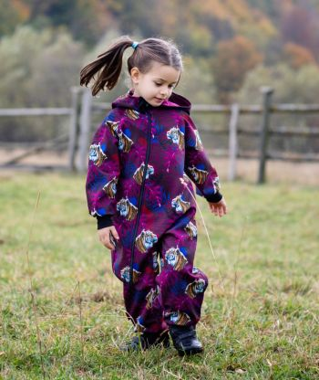 Waterproof Softshell Overall Comfy Tigers Purple Jumpsuit