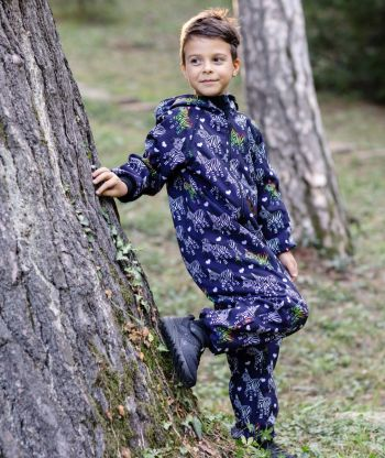 Waterproof Softshell Overall Comfy Zebra Dark Blue Jumpsuit